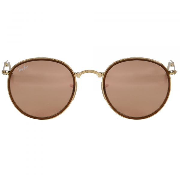 Ray-Ban Gold Round Sunglasses RB3517-001Z2-51